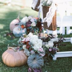 A rustic wedding at Strawberry Farms with perfect fall details! Fairy tale pumpkins, vintage furniture, and gorgeous florals!