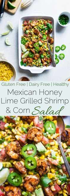 Healthy Honey Lime Grilled Mexican Corn Salad with Shrimp - This quick and easy, gluten free salad is tossed with juicy, smoky shrimp and has a sweet and tangy honey lime vinaigrette! Perfect for summer cook outs!   Foodfaithfitness.com   @FoodFaithFit
