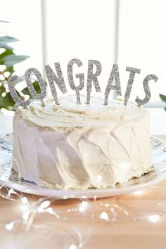 """$24 4"""" high, in silver only, Alexis Mattox Design Congrats Letter Cake Topper"""