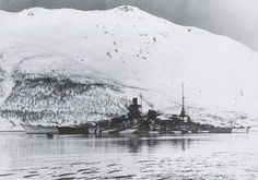 11 in battleship Scharnhorst in Norway, where she spent the remainder of her war after returning from the French Atlantic port of Brest in February 1942. The camouflage scheme dates this picture to winter 1942 / 43. She was sunk by the Royal Navy whilst attempting to intercept an Arctic convoy to Russia on Boxing Day 1943.