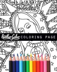 Angel coloring Mexican Folk Art book adult by HeatherGallerArt