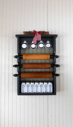 Primitive Rolling Pin Rack with Back