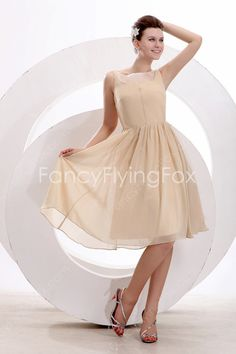 fancyflyingfox.com Offers High Quality Bateau Neckline Sleeveless Champagne Chiffon A-line Knee Length Junior Prom Dresses With Draped Skirt ,Priced At Only US$155.00 (Free Shipping)