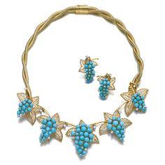 Turquoise, diamond and gold demi-parure, Boucheron | Lot | Sotheby's