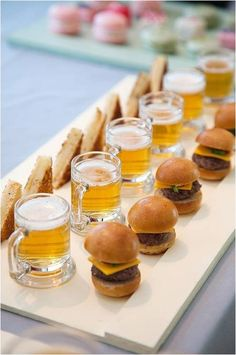 mini  beers with sliders - BEST hors d'oeuvres idea on earth!