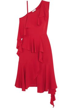 One-shoulder Ruffled Jersey Midi Dress - Red GOEN J 7GWui