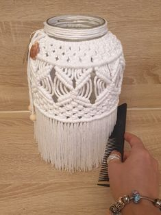 Candle Jars, Candle Holders, Candles, Jar Lanterns, How To Make Lanterns, Cotton String, Macrame Projects, Jar Crafts, Boho Style