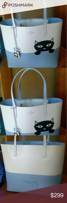 "NWT Kate Spade Little Len Peeking Cat Shopper Brand New With Tags Limited Edition Authentic Kate Spade ""Little Len Peeking Cat"" Tote/Shopper Bag. From The Jazz Things Up Collection. So Cute And Fun To Carry! Fit All Your Essentials Needed For Daily Use Or For A Vacation!   Debuted 6/17/2017  #WKRU4588  Retail $329.00   Details: 12""(H) X 18""(L) X 5 1/2""(W)  Strap Drop 7 1/2""  Large Bag!  1 Large Deep Zipper Pocket  1 Large Deep Slip Pocket, Perfect For A Phone  1 Card Holder On The Back Of…"