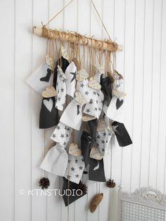 Kalendarz Adwentowy woreczki w skandynawskim stylu - Adventskalender, Adventssäckchen Nordisch, Nordische Weihnachten, Weiss und Schwarz.