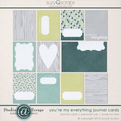 You're My Everything Journal Cards by SuzyQ Scraps | perfect for everyday layouts and scrapbook pages about family