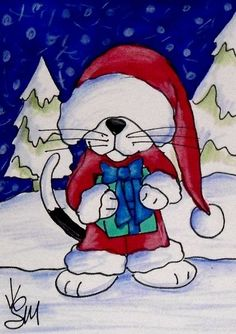"Aceo Original  ""SANTA'S HELPER""  pencil/ink  #OutsiderArt"