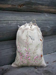 Купить Иван-Чай..Льняной мешочек для чая,кофе ,трав. Роспись в интернет магазине на Ярмарке Мастеров