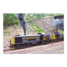 2 Delaware Lackawanna Railroad Company Alco RS-3s doing a photo runby in the Roaring Gorge near Scranton Pennsylvania.