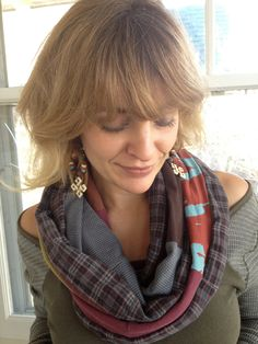Jersey Infinity SCARF, Upcycled, patchwork,  Eco friendly,green mix,chunky, urban, funky, soft, artist color mix Zasra