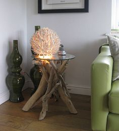 Driftwood table and love the lamp