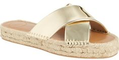 Love these gold strapped espadrilles. French Connection 'Luz' Espadrille Platform Sandal (Women)