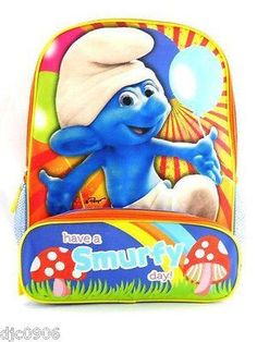 """Smurfs Have a Smurfy Day Large 16"""" Backpack with compartments Cartoon Network!"""