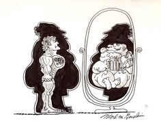 """""""Mirror, Mirror"""" original illustration for The Inner Man (a series of editorial cartoons done for various publications including the Village Voice and Oui Magazine in the 1970's.)   R. Michelson Galleries∙ Cartoons ∙ R. MICHELSON GALLERIES"""