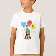 Birthday Party Balloons Yorkie T-Shirt   pug tshirts, pug birthday meme, pug happy birthday #puggifts #pugtoy #pug Pug Birthday Meme, Birthday Party Hats, Happy Birthday Parties, Beagle Mix Puppies, Baby Puppies, Beagle Dog, Red Golden Retriever Puppy, White Retriever, Golden Retrievers