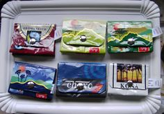 """more upcycled """"packaging"""" wallets. This German blog has fun ideas."""