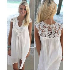 2017 Women Sexy Lace V-Neck Party Sleeveless Short Mini Beach Dress Sundress Hollow Out White Lace Summer Boho Dress Plus Size Boho Dress Plus Size, Plus Size Beach Dresses, Midi Dress With Sleeves, Chiffon Dress, Lace Dress, Lace Chiffon, Short Dresses, Summer Dresses, Sexy Dresses