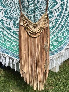 Handmade Tan Long Fringe Bag Hippie Boho Hobo Gypsy Ibiza Dyed Lace Purse B.Joy | eBay