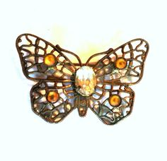 Delicate Topaz Hued Rhinestone Trimmed Butterfly Brooch circa Early 1900s Dorothea's Closet Vintage Jewelry