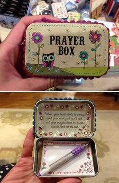 DIY Prayer Boxes made from Altoids tin: When your heart starts to worry, and your mind can't rest, put your prayers down on paper, and let God do the rest.