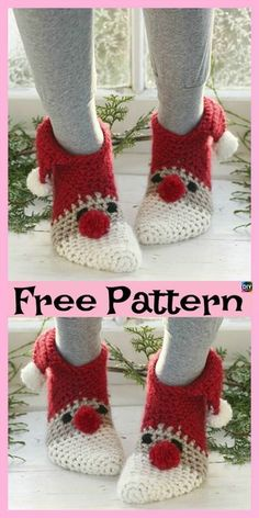 25 Ideas For Crochet Christmas Socks Free Pattern Yarns Crochet Baby Socks, Crochet Socks Pattern, Crochet Diy, Crochet Shoes, Crochet Slippers, Crochet Gifts, Crochet Ideas, Holiday Crochet, Christmas Knitting
