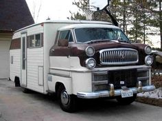 Early Motorhome Looks like someone dropped an old Nash on a motorhome!  Definitely has high beams!