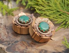Hey, I found this really awesome Etsy listing at https://www.etsy.com/listing/193862397/olive-wood-plugs-with-brass-lotus-and