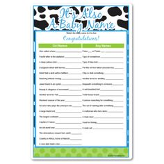 Itu0027s Also A Baby Name   Baby Shower Game Favorite All Dressed Up For A Boy