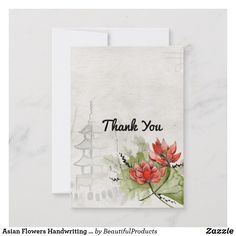 Shop Asian Flowers Handwriting Wedding Thank You Card created by BeautifulProducts. Asian Flowers, Wedding Script, Wedding Thank You Cards, Holiday Photos, Sign I, Handwriting, Paper, Holiday Pictures, Calligraphy
