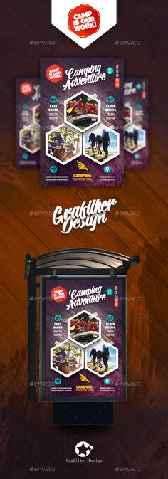 Camping Adventure Poster Template PSD, InDesign INDD