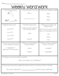 Third Grade Common Core Weekly Word Work (yearlong pack) $