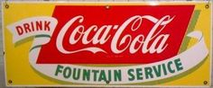 icollect247.com Online Vintage Antiques and Collectables - 1950 SSP Coca Cola Fountain Service Sign Advertising-Signs