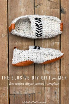 This free adult crochet slippers pattern actually includes sizes for men and women. The leather soles are made from a thrifted jacket! - Mens Slippers - Ideas of Mens Slippers Crochet Boots, Crochet Slippers, Mens Slippers, Felted Slippers, Modern Crochet Patterns, Crochet Blanket Patterns, Crochet Blankets, Knitting Patterns, Crochet For Beginners Blanket