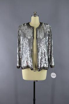 Vintage 1980s Silver Sequined Silk Jacket  #shopvintage #vintage