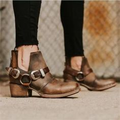 Sheside provides you with the fine Casual Square Heel Fashion Buckle Pointed Head Shoes& heels boots ankle products Ankle Heels, High Heel Boots, Heeled Boots, High Heels, Shoes Heels, Shoes Uk, Dress Shoes, Golf Shoes, Wedge Shoes