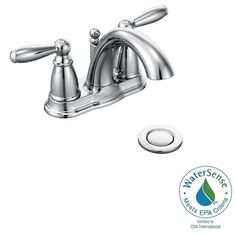 MOEN Brantford 4 in. Centerset 2-Handle Low-Arc Bathroom Faucet in Chrome with Metal Drain Assembly-6610 - The Home Depot