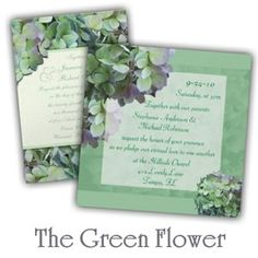 #Green hydrangea wedding stationery