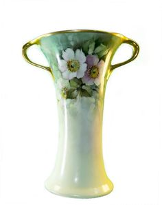 Limoges B & Co France Art Nouveau Hand-painted Porcelain Vase Height 9  x Top with Handles 7  Base 4 1/4  The B & Co France mark. Reference for this mark can be found on Page 97 of the Encyclopedia Of