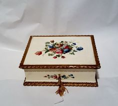 Vintage Italian Wood Gold Rim and Ivory Cream by RareEarthProducts