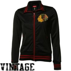 Chicago Blackhawks Wings Mitchell & Ness Ladies Red Vintage Track Jacket
