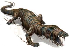 Petsuchos (Egyptian) - As there are enough humanoid undead in my game, I thought it would be cool to turn the mummy into a different form, the perfect creature for that is the crocodile-monster known as Petsuchos or solar crocodile, these mummified crocodiles were created by the Gods of Death and rised again to act as guardians and pets. Their bite is cursed and they have strange light-beam devices on their heads to fire hot laser-like beams of pure light. Mythological Creatures, Fantasy Creatures, Mythical Creatures, Fantasy Monster, Monster Art, World Mythology, Dnd Monsters, Legendary Creature, Classic Monsters