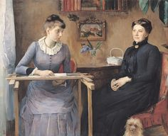 ca. 1885 -  'At home' or 'Intimacy' by Louise-Catherine Breslau (German. Munich. 1856 - 1927), Musée des Beaux-Arts de Rouen. Realism