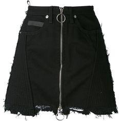 Marcelo Burlon County Of Milan 'Ayelen' mini skirt found on Polyvore featuring skirts, mini skirts, bottoms, black, short miniskirt, ripped skirt, short mini skirts, short skirts and distressed skirt