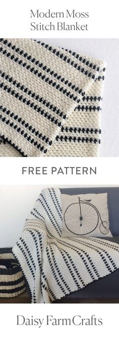 FREE PATTERN Crochet Modern Moss Stitch Blanket by Daisy Farm Crafts