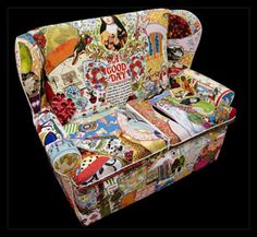 turn an old couch into a masterpiece using material from old teatowels, aprons, etc.. options are endless (idea by designers at Life is Suite)