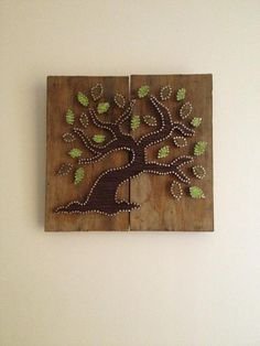 Tree of Life Tree of Friendship String Art on recycled wood with hemp cord